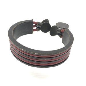 Vintage LA TRIBU RIGAUX Bronze Leather Bracelet